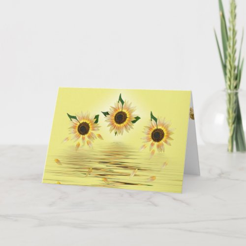 sunflowers on yellow with water ripples card