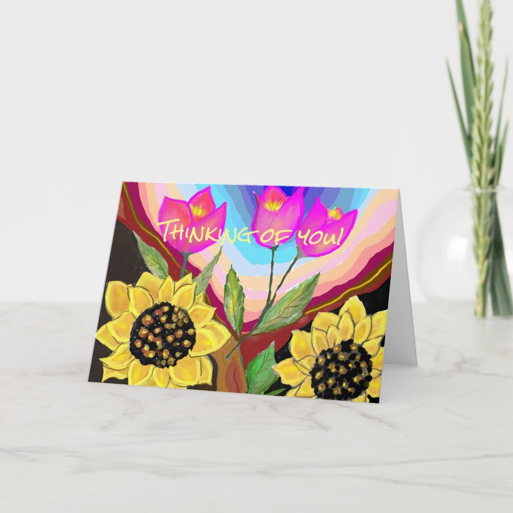 Sunflowers Tulips & Love Thinking of You Card
