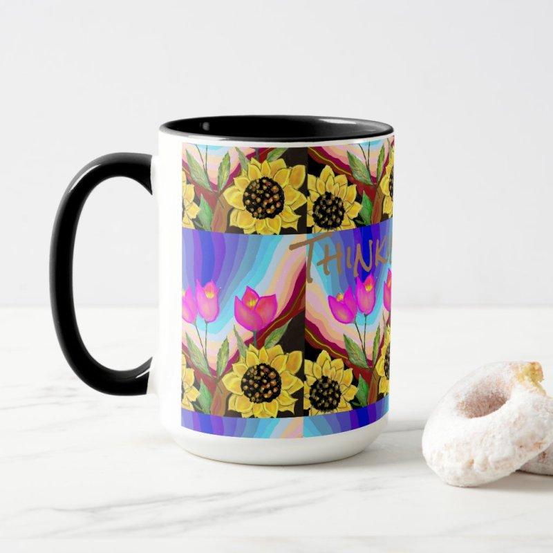 Sunflowers Tulips & Love Thinking of You Mug