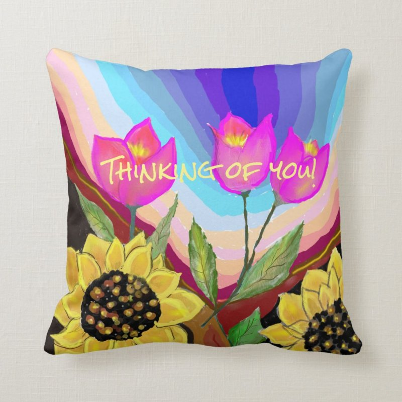 Sunflowers Tulips & Love Thinking of You Throw Pillow