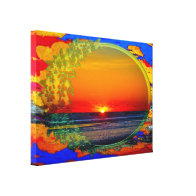 Sunrise Over Atlantic Oval with Flowers Stretched Canvas Prints