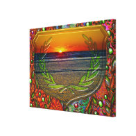 Sunrise Over The Atlantic & Shield Design Art Canvas Print