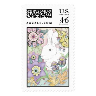Sunset Garden Rabbit postage stamp