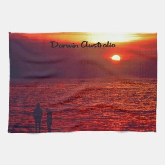 Sunset on Darwin Beach Towels