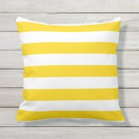 Sunshine Yellow Nautical Stripes Outdoor Pillows | Zazzle