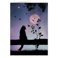 Super Cute Cat and Butterfly Thinking of You Card
