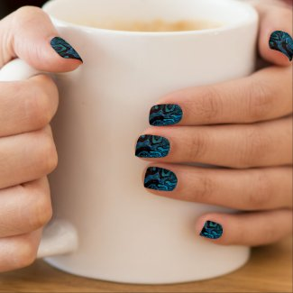 Super Glossy Turquoise Blue/BLK Minx Nail Art