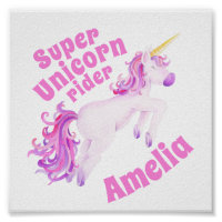 Super unicorn rider pink unicorn whimsy art poster