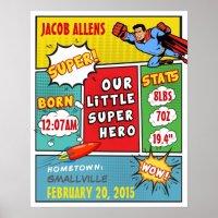 Superhero Birth Announcement - Wall Art | Zazzle
