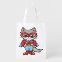 Superhero Kitty Reusable Grocery Bag