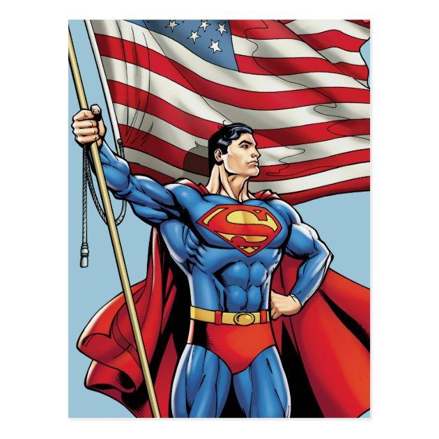 Superman Holding US Flag Postcard  Zazzle