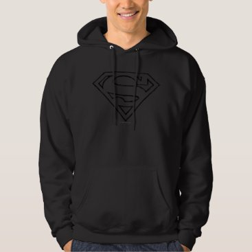Superman S-Shield | Simple Black Outline Logo Hoodie