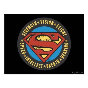Superman Stylized | Strength Vision Flight Logo Postcard