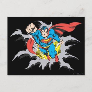 Superman Tears Thru Postcard