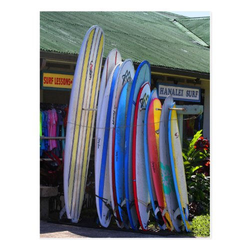 Surfboards for Rent in Hanalei, Kauai Postcard