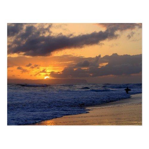 Surfer at Sunset on Kauai Beach, Niihau on Horizon Postcards