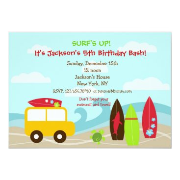 Surfer Surf Birthday Party Invitations