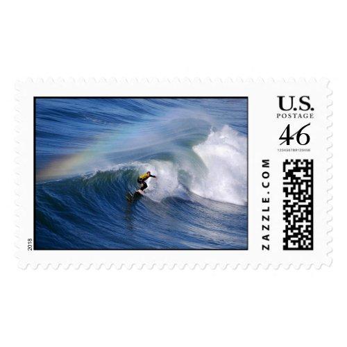 Surfing Under A Rainbow Postage stamp