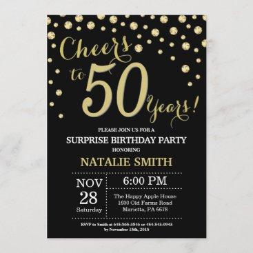 Surprise 50th Birthday Black and Gold Diamond Invitation