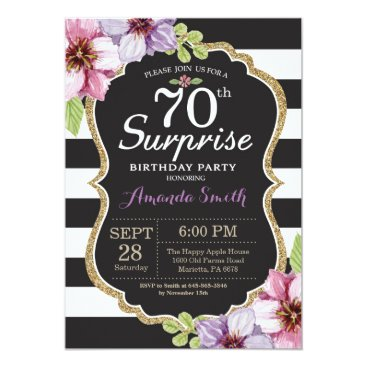 Surprise 70th Birthday Invitation Floral Gold