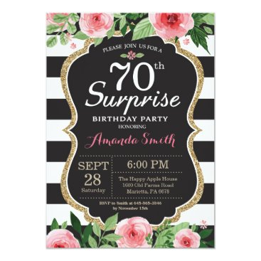 Surprise 70th Birthday Invitation Women Floral
