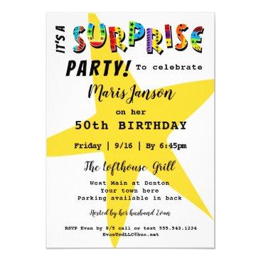 SURPRISE BIRTHDAY ANNIVERSARY ANY PARTY INVITATION