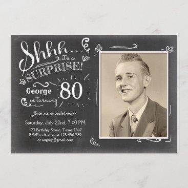 Surprise birthday invitation 80 Chalkboard Rustic