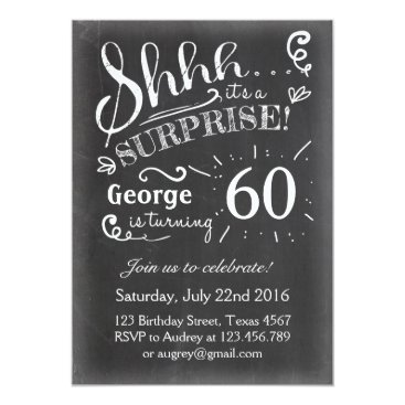 Surprise birthday invitation Chalkboard Rustic