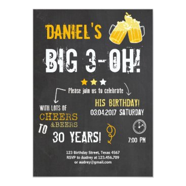 Surprise Party Cheers and beers birthday 30th Men Card