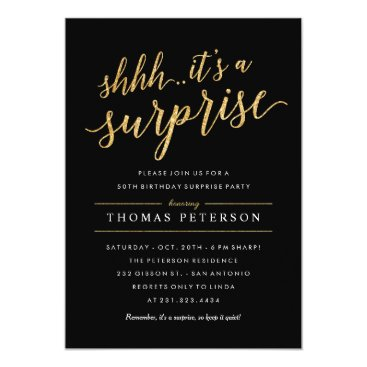 Surprise Party Invitations - Modern Gold Glitter