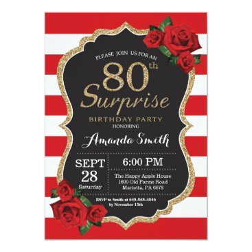 Surprise Red Rose 80th Birthday Invitation Gold