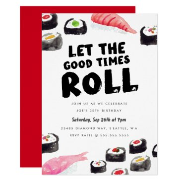 Sushi Birthday Party Card