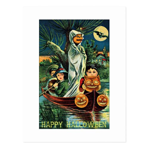 Swamp Ghost Pumpkin Vintage Halloween Postcard