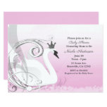 Swan Princess Silver White Pink Baby Shower Invitation