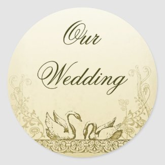 swans love birds wedding sticker