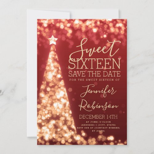 Sweet 16 Birthday Invitation Gold & Red Christmas