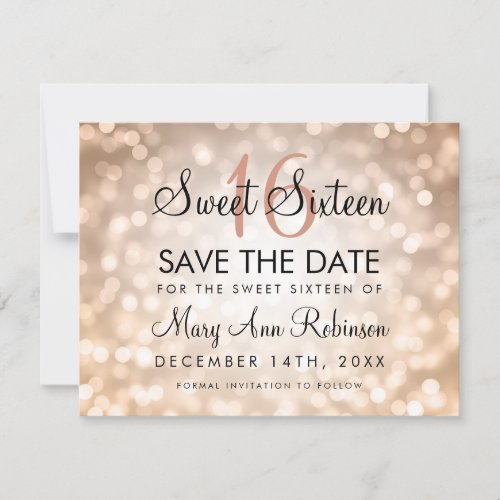 Sweet 16 Save The Date Rose Gold Glitter Lights