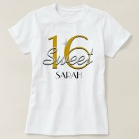 Sweet 16 Silver/Gold Sparkle T-Shirt | Zazzle.com