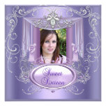 Sweet 16 Sixteen Birthday Party Purple Silver Custom Invites