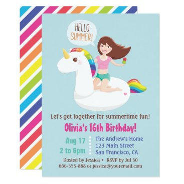 Sweet 16 Unicorn Pool Float Summer Birthday Party Card