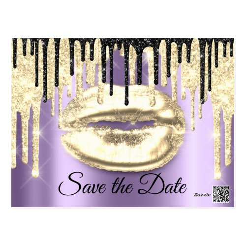 Sweet 16th Bridal Quinceanera Drips Purple Gold Postcard