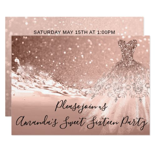 Sweet 16th Party  Rose Gold Glitter Ocean Dress Invitation
