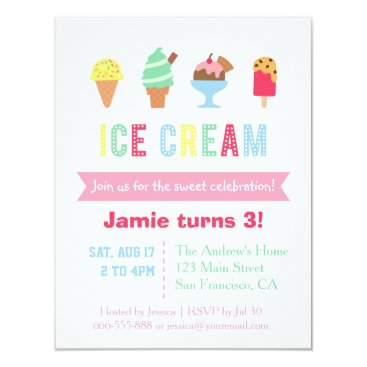 Sweet and Colorful Ice Cream Party Invitations