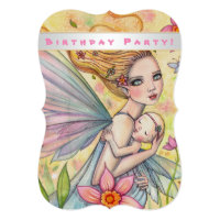 Sweet Baby Girl Fairy First Birthday Party Card