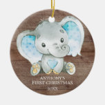 Sweet Elephant Boy Baby's First Christmas Ornament