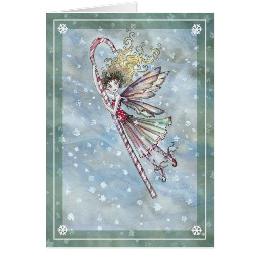 Sweet Fairy Candy Cane Christmas Card Zazzle