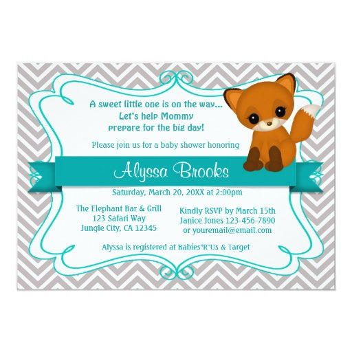 Sweet Fox Baby Shower Invite