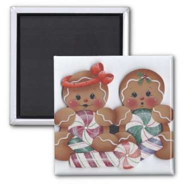 Sweet Gingerbread Candy Twins Kitchen Magnet