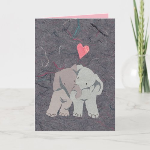 Sweet Gray Elephants in Love for Valentine's Day Holiday Card