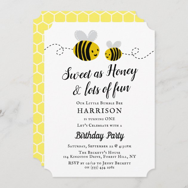 sweet little honey bee 1st birthday party invitation zazzle com